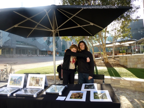 Chantelle and I at our stall in Federation Square